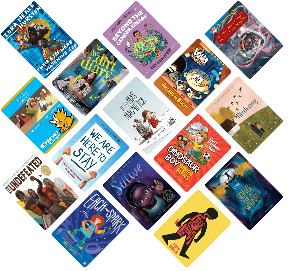 A mosaic pattern of children's book covers.